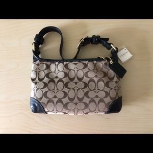 Coach Purse New with Tags Brown with Black Leather